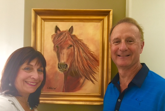 """Randy and Gayle have purchased this latest painting entitled """"Lucky""""."""